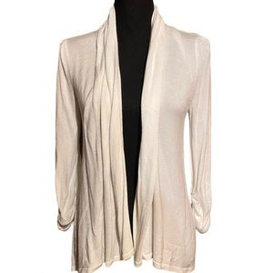 INC Lightweight Ruched Sleeve Sweater Off White M